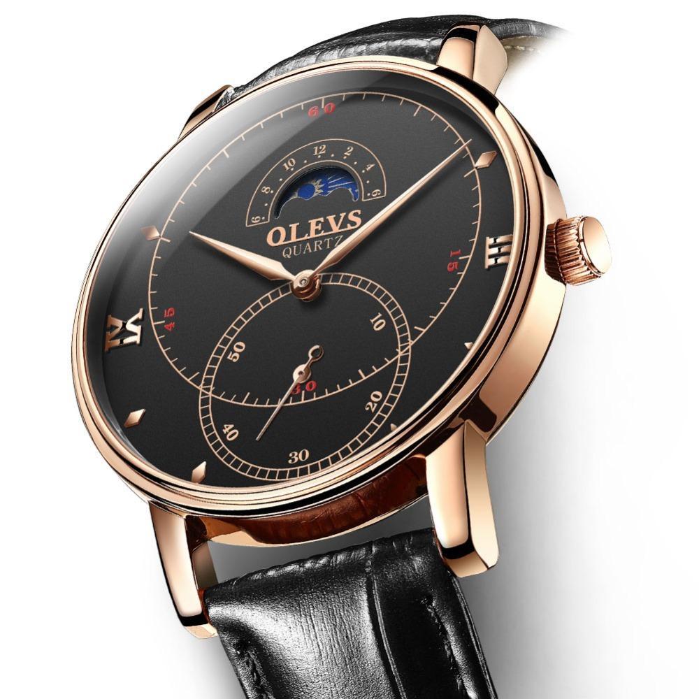 Herrenuhren Schwarz Leder Quarz Olevs Ultradünne Luxus Top Uhren Männer Armbanduhr Einfache S924ww Business Kreative Marke zVGqSUMp