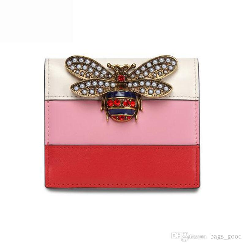 New Real Classic fashion designer bee top quality women Short Genuine Leather Wallets Card Holders Mini wallet Bee purse