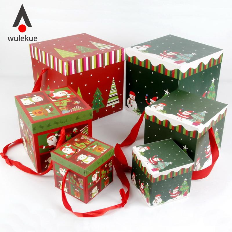 Geschenkbox Weihnachten.Wulekue 1 Satz Weihnachten Papier Geschenkbox Weihnachten Wohnkultur Party Dekoration Festival Neujahr Party Boxen Präsentieren Paket