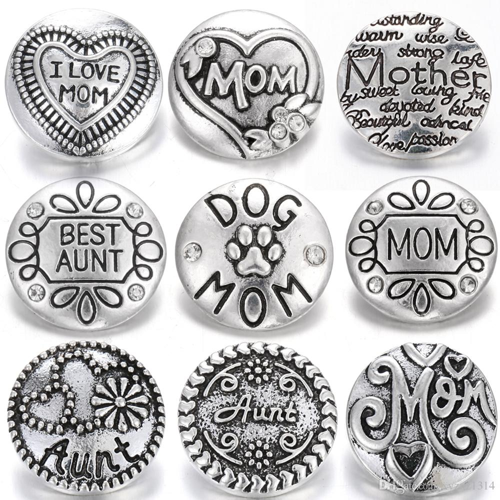 New Noosa Snap Jewelry Round Metal Aunt Mom 18mm Snap Buttons Fit Snap Bracelet Bangles Mother's Day Gift