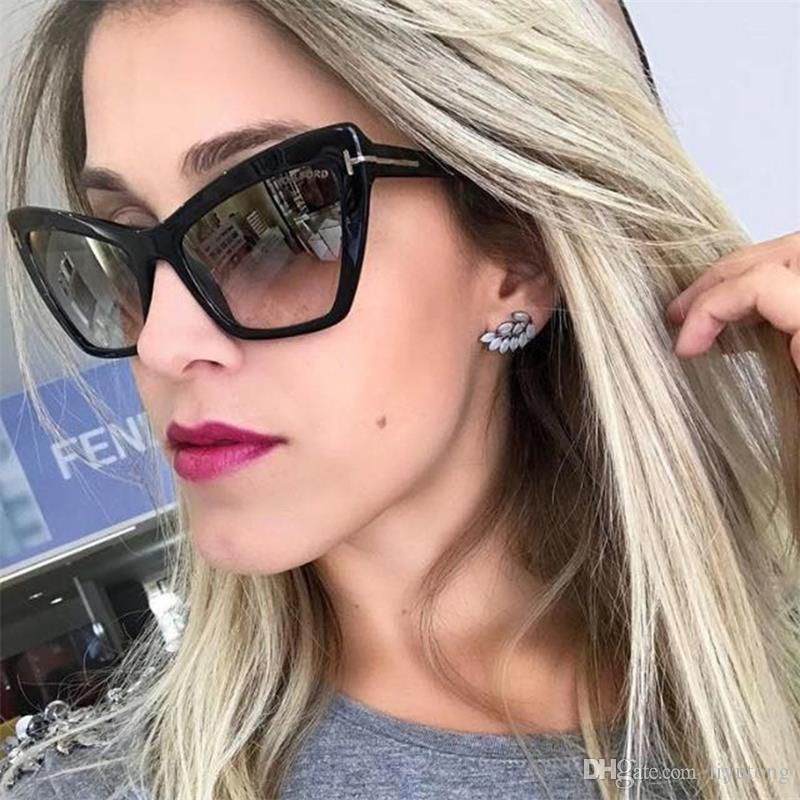 144d26688d23d New Cat Eye Sunglasses Woman Vintage Retro Luxury Gradient Rivet Sun ...