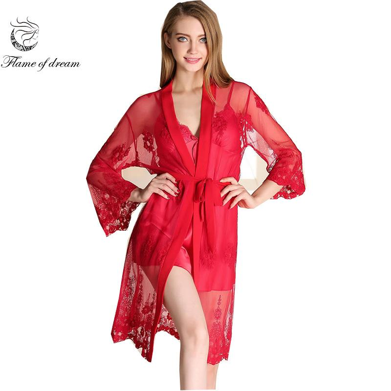 33cc9e528c 2018 Nightgown Set Nightgown Robe Set Robe Sets Chemise De Nuit Lace Two  Piece 813 From Maoyili