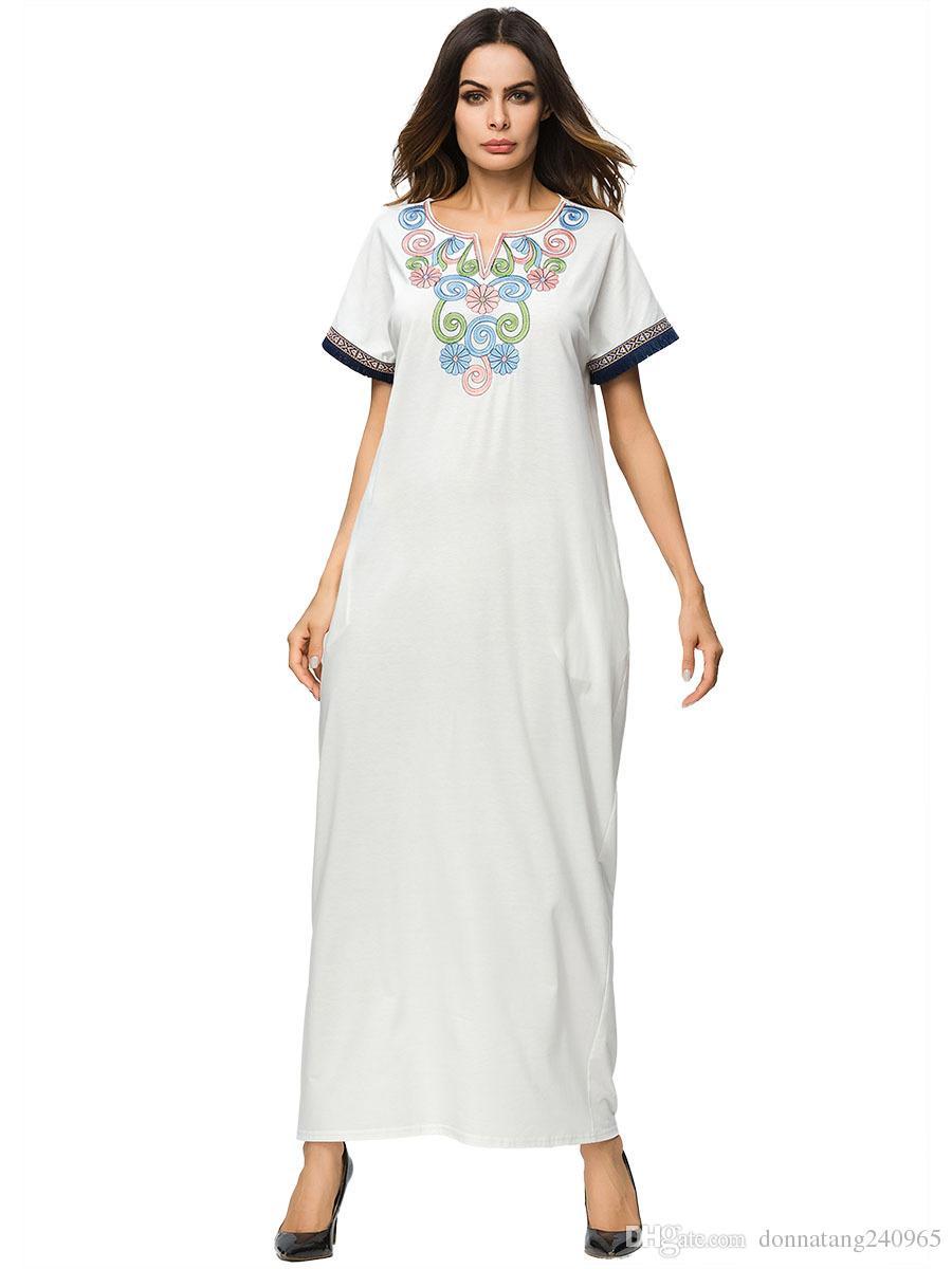 574e06e54757f Summer Plus Size Turkey White Abaya Clothes Muslim Embroidery Flowers  Printed Short Sleeve Women Long Dress Islamic Robe Musulmane Clothing