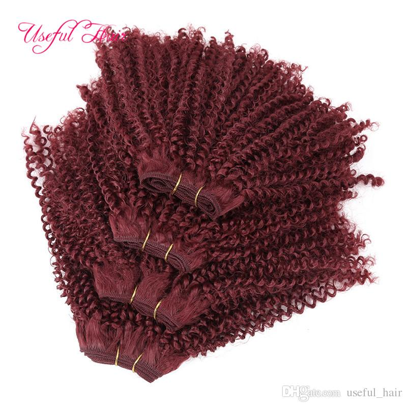 2018 new arrival Double machine weft Synthetic hair extensions kinky curly hair bundles 12inch Brazilian hair bundles high quality wefts