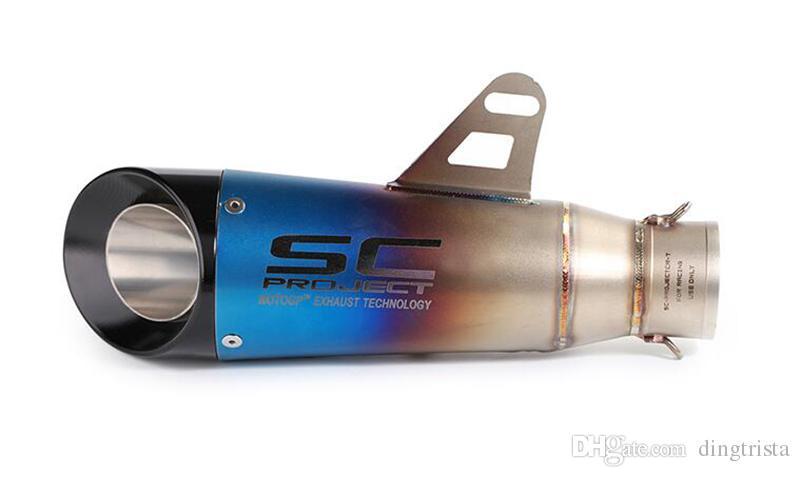 TKOSM Universal Edelstahl 51mm Auspuffrohr Motorrad Auspuff System Vent Rohr Bevel Laser SC Auspuff Tipps für Dirt Street Bike