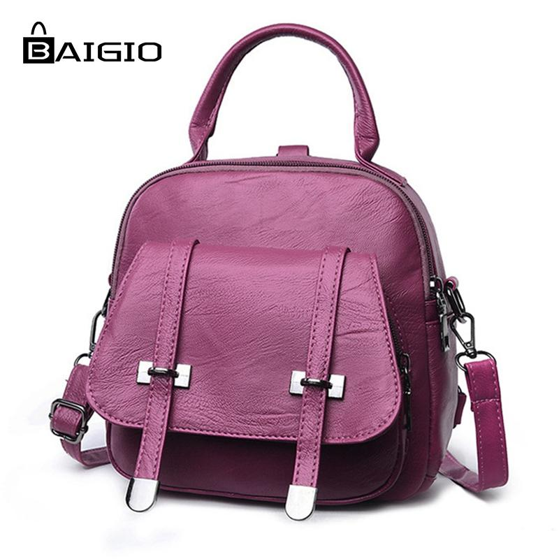 94d845004d Baigio Packpack Women 2018 Small Bags Pu Leather Solid Classic Bags For  Female Easy Match Casual Shoulder Zipper School Bag Girl Backpacks Toddler  Backpack ...