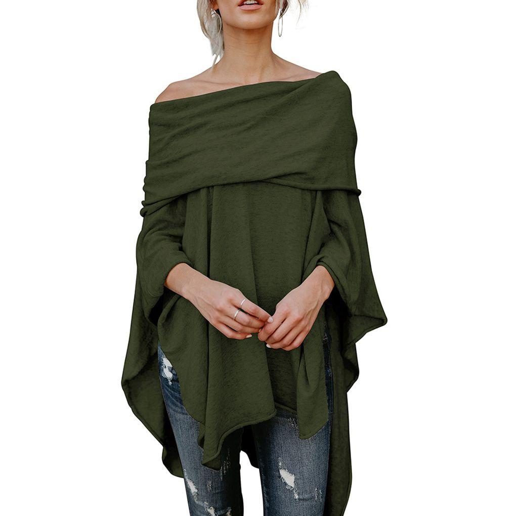 81623d278e5e5 2019 Popular Women Casual Off Shoulder Blouses Shirts Handkerchief  Irregular Hem Side Slit High Low Tunic Tops From Vikey08