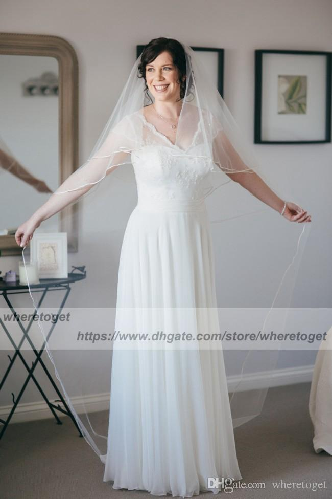 Summer Bohemian Country Wedding Dresses With Sheer short Sleeves V Neck A Line Lace Applique Chiffon Boho beach Bridal Gowns Cheap