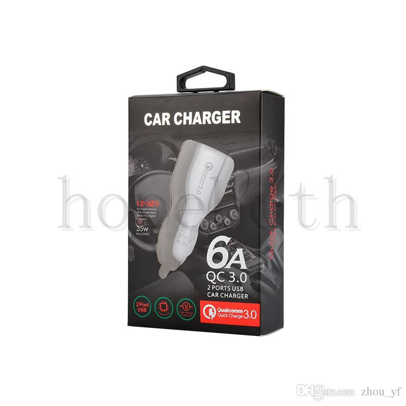 Caricabatteria da auto di alta qualità 5V / 6A 9V / 2A 12V / 1.2A QC3.0 ricarica rapida auto Caricatore doppio adattatore USB 3.1A pacchetto Samsung Galaxy S8 S9with