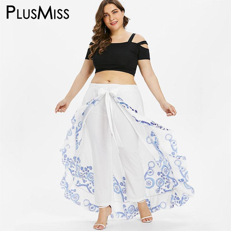 4c9d34c2a1 2019 PlusMiss Plus Size 5XL 4XL Summer Skirted Pant Women White Print Loose  Palazzo Capri Pants Chiffon Bohemian Boho Beach Trousers From Lichee666, ...