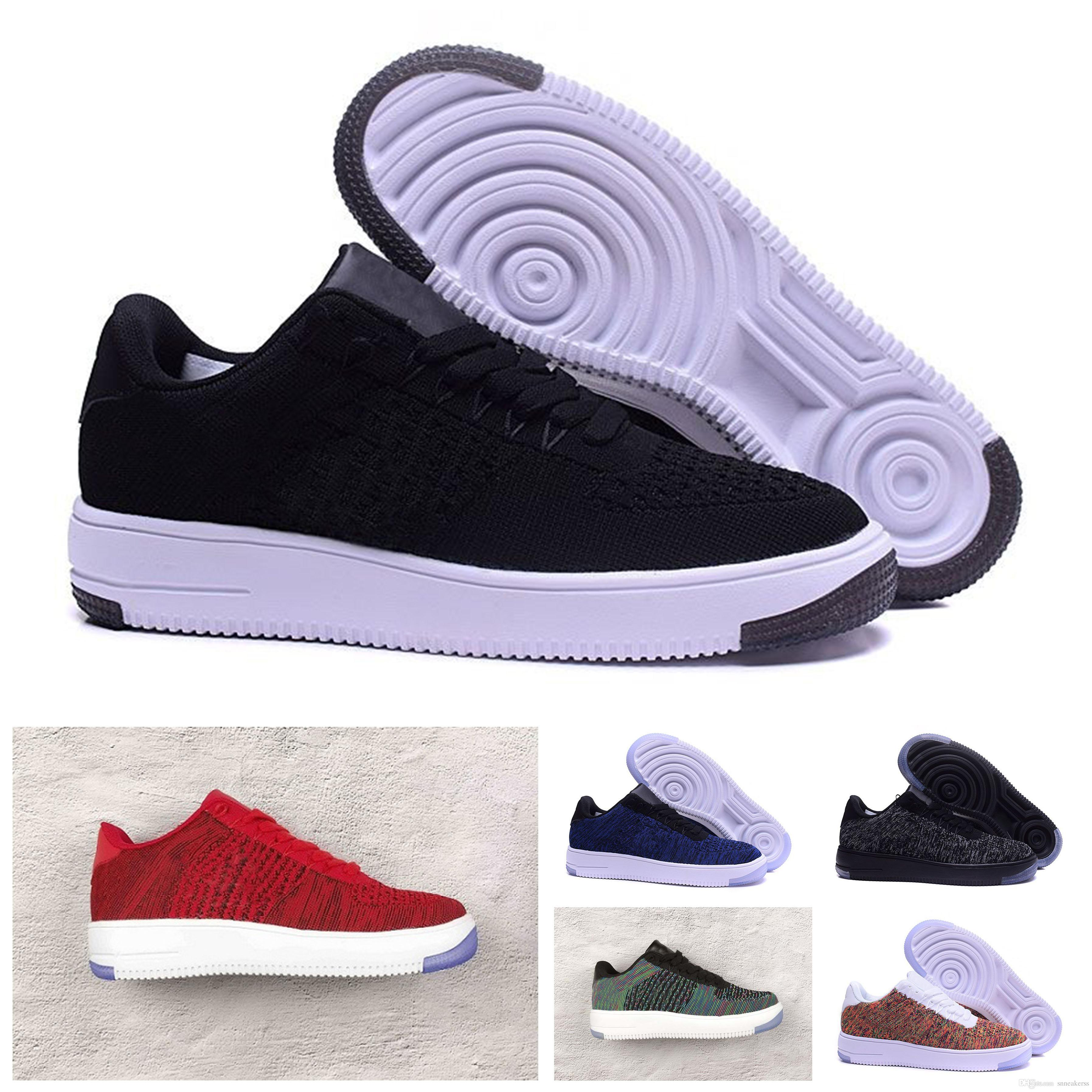 reputable site 8c3ab 91ccc Acheter Nike Air Force 1 Flyknit Af1 Trainers Running Shoes 2018 Casual  Shoes Nouveau Style Ligne Mouche Hommes Femmes Force High Low Lover  Skateboard ...