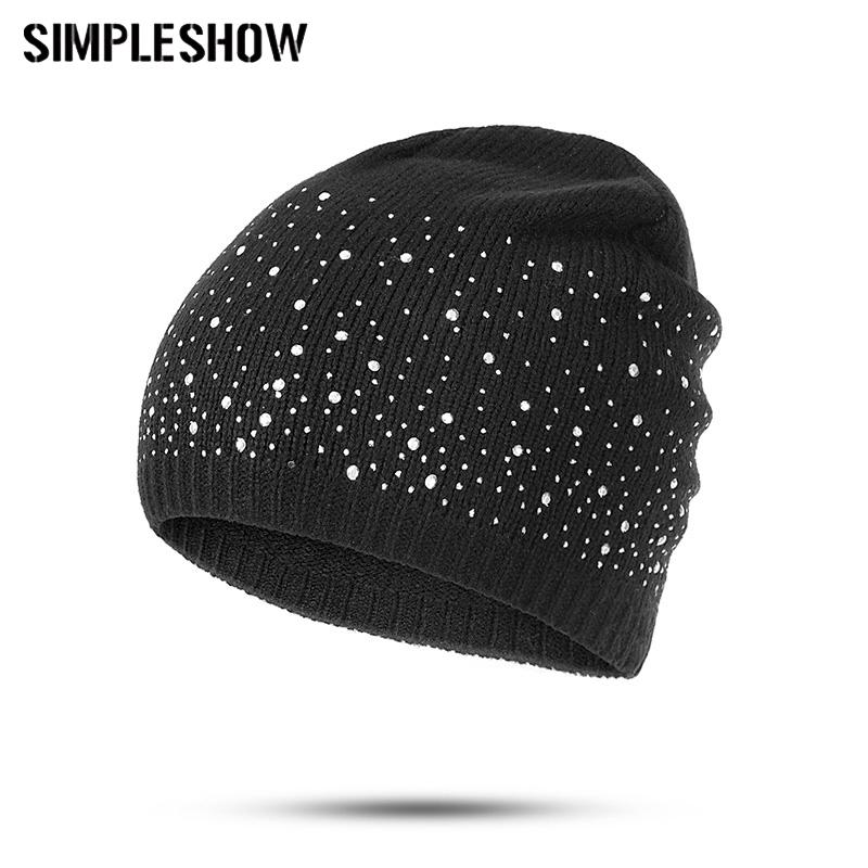 b329080e New Fashion Winter Hat Women Rhinestone Beanie Hat Designer Knitted Warm  Caps Girl Skullies Beanies Drop Shipping Slouchy Beanie Skull Cap From  Bestqueen, ...