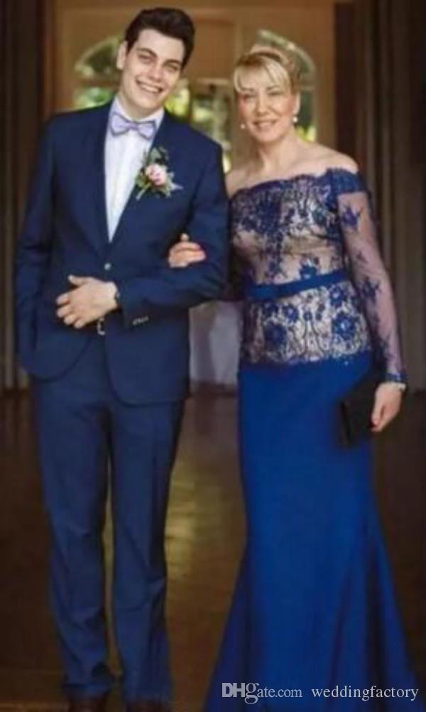 Nuovo modesto abito la madre della sposa a maniche lunghe con spalle scoperte Pizzo blu royal Champagne Mermaid Abiti da cerimonia invitati personalizzati