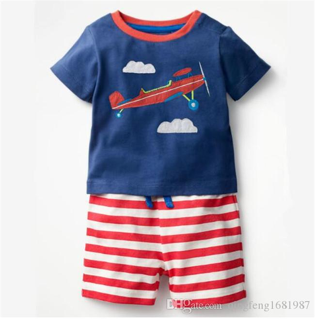 Çocuk erkek bebek takım elbise Karikatür nakış dinozor kısa kollu tişört şort boys% 100% pamuk takım D19