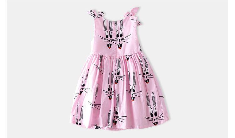 INS Summer 어린이 면화 토끼 귀 드레스 화려한 여자 당근 자수 공주 드레스 아이 활 어깨 스트 라이프 조끼 드레스 2-8Y