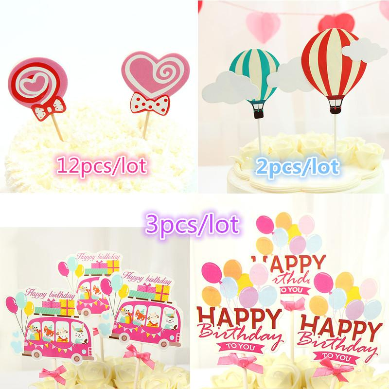 2019 Happy Birthday To You Cake Topper Love Heart Lollipop Hot Air Balloon Flags For Wedding Party Baking Decor From Homegarden
