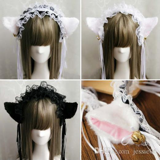 Party Fancy Dress Headband Fluffy Cat Fox Ears Lace Ribbon Tassels Bell Headband Anime Waitress Maid Devil COS Costume Xmas Props