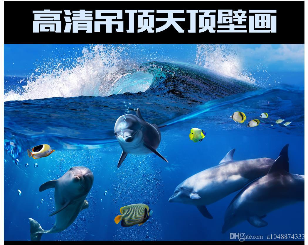 3d wallpaper custom photo ceiling mural wallpaper Underwater World Dolphin Fish living room wall paper Zenith mural wallpaper decoration