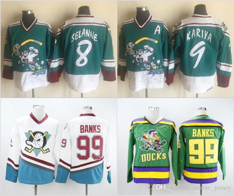 e9cfa731688 2019 Mighty Ducks 99 Adam Banks Hockey Jerseys 8 Teemu Selanne 9 Paul  Kariya Green White Anaheim Jersey Stitched From Movie jersey