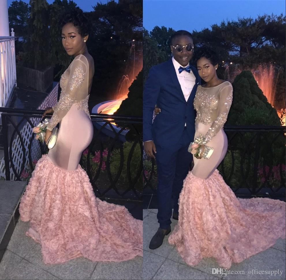 2650a6a0dee03 2018 African Mermaid Prom Dresses Black Girls Long Sleeves Beads Lace  Handmade Flowers Celebrity Gowns Open Back Evening Dresses