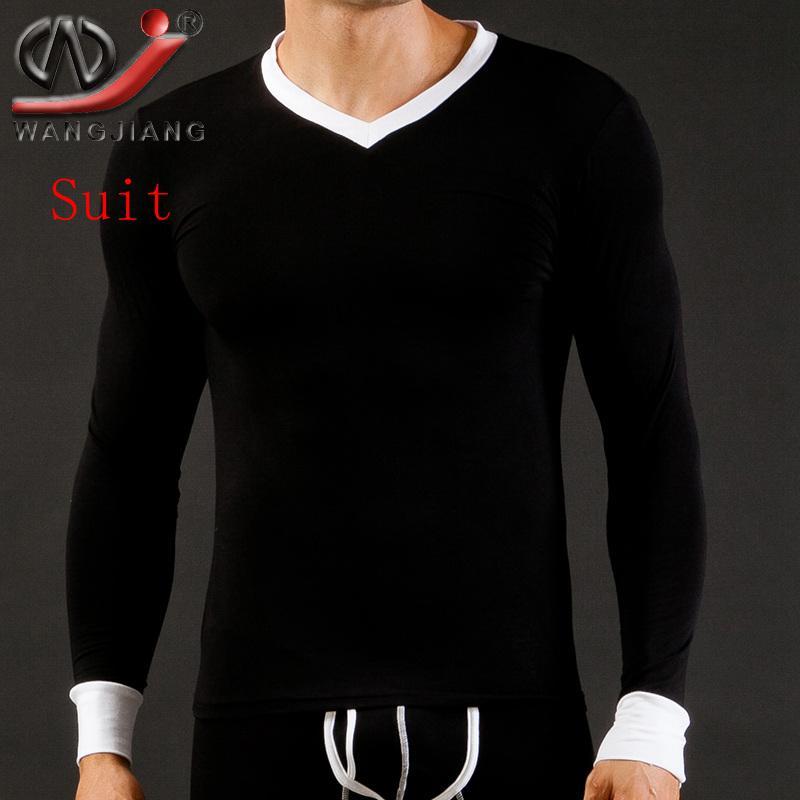 Mens Long Underwear WJ Brand Modal V-Neck Long Sleeve Top T-Shirts Autumn Winter Thermal Warm Sleepwear Undershirts