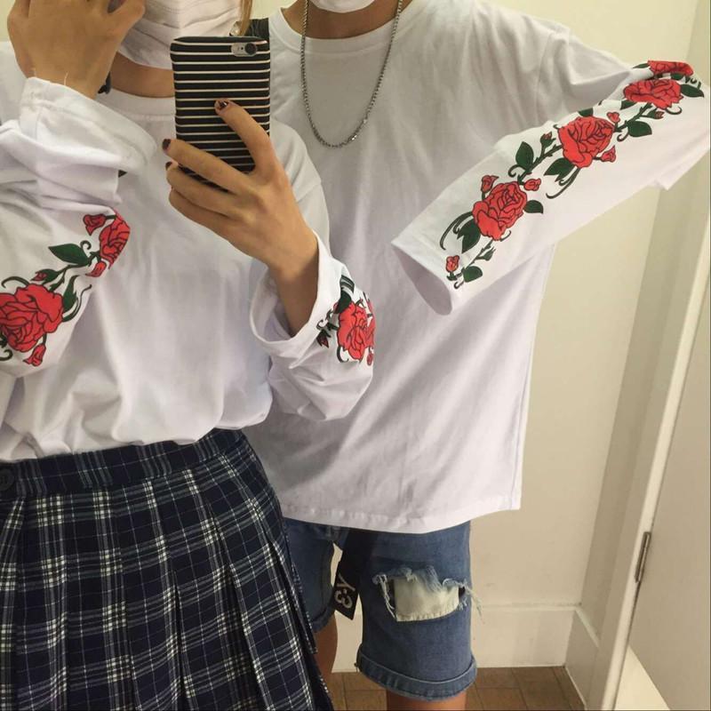 Chic Personalized Rose Sleeve Thin Couple Loose T Shirt Women S Sweatshirts  Japan Harajuku Ulzzang Female Korean Kawaii Cute Awesome T Shirt Design  Shirt ... 380f0b1678