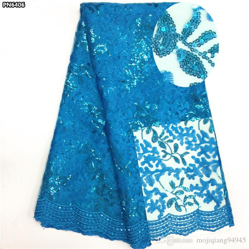 French Lace Fabric High Class African Laces Fabric Double Organza With Sequins Embroidery For Sewing Beauty Women Dress PN64