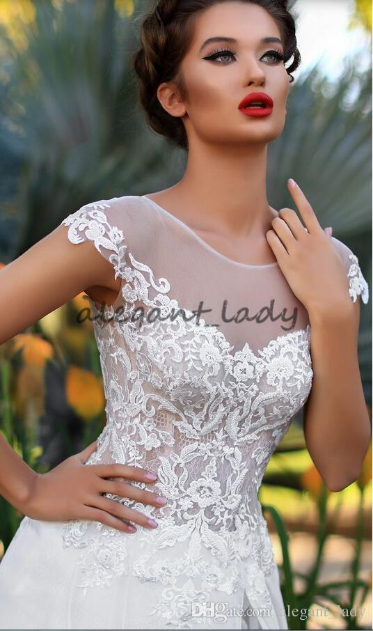 Sheer Neck Cap Sleeve Beach Country Wedding Dresses with Lace Lash Split 2018 Victoria Soprano Flowing Skirt Holiday Wedding Bridal Dress