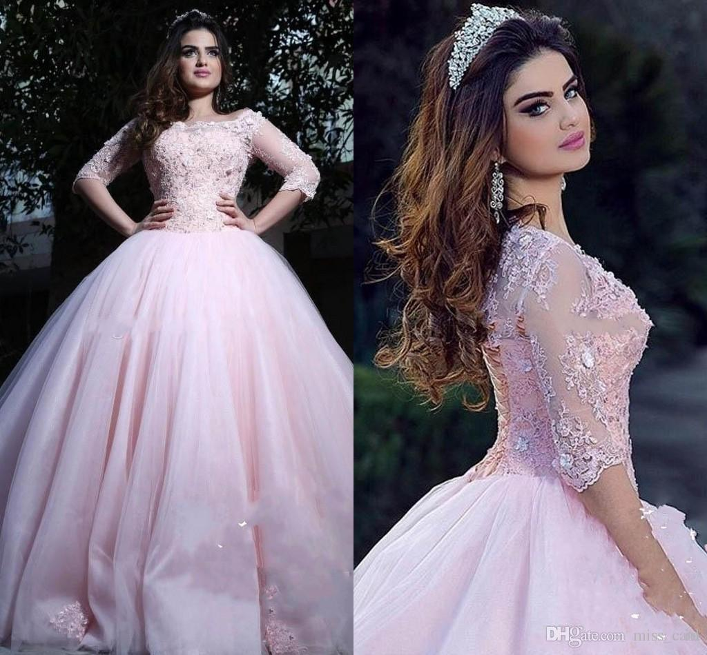 7ac39ada1b7 Modest Sweet 16 Pink Quinceanera Dresses Bateau Neck 3 4 Long Sleeves  Appliques Lace Tulle Corset Lace Up Ball Gown Prom Dresses Quinceanera Dama  Dresses ...