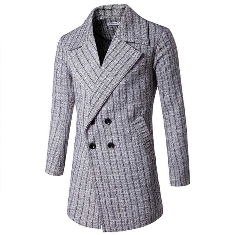 40 Fashion Mens Trench Blends Long Style Slim Fit Plaid Pattern Mesmerizing Mens Trench Coat Pattern