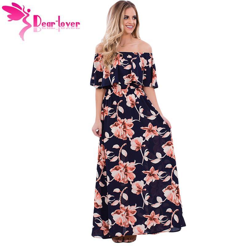 606dc2fd5e35 Compre Dear Lover Beach Summer Vestidos Largos Mujeres Azul Marino Elegante  Boho Vibe Estampado Floral Off Hombro Vestido Maxi Vestidos Mujer 61484 A  $20.1 ...