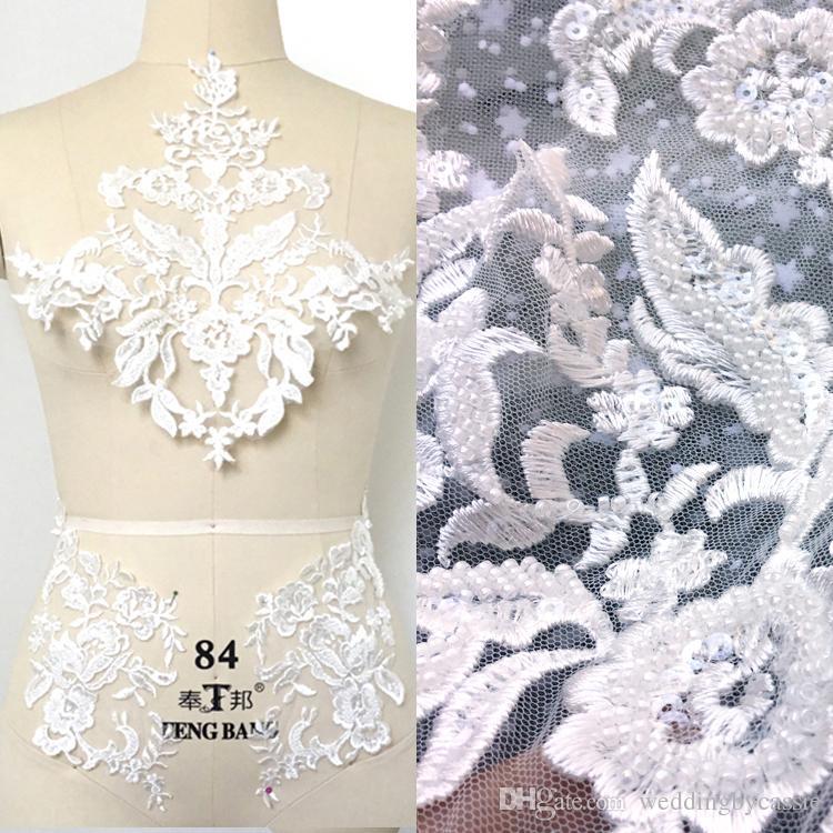 Compre Apliques De Encaje De Flores Francesas Blancas Con Cuentas ...