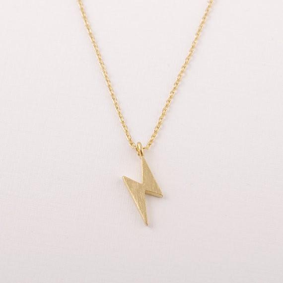 2018 Fashion Gold-color silver plated Lightening Bolt Necklace Pendant Necklace for women gift Wholesale