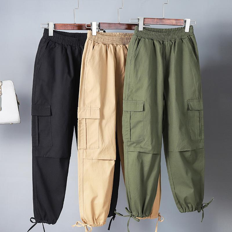 bb9bf0991a62 2019 Plus Size Women Workout Cotton Military Combat Army Green Cargo Pants  Overalls Ladies Straight Multi Pocket Trousers From Johnbob1994, $17.97 |  DHgate.