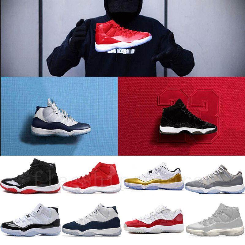 new product d9fff d16b8 Acheter 11 Hommes Chaussures De Basket Ball Casquette Et Robe Concord  Platinum Teinte Prom Night Gym Rouge 72 10 Bred Space Jam Marine Gum Varsity  Rouge 11s ...