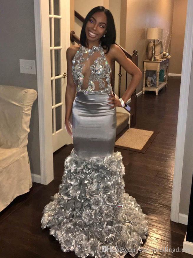 2018 섹시 한 실버 이브닝 드레스 레이스 Applique와 민소매 인 어 공주 댄스 파티 드레스 로즈 꽃 사용자 지정 만든 공식적인 파티 드레스