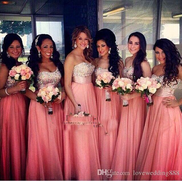 Coral Chiffon Long Bridesmaid Dresses Beads Crystal Top Sweetheart Floor Length Cheap Party Wedding Guest Dress 2018 Hot Sale