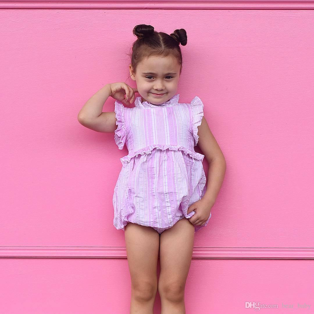 66841066ade 2019 2018 Baby Girls Rompers Sets Cotton Pink Toddler Romper+ Headbands Set  Summer Cute Infant Onesies Newest Boutique Clothes From Bear baby