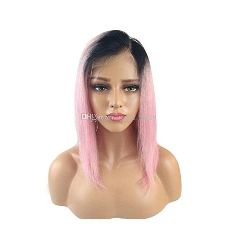 1b pink dark root Vrigin human hair ombre bob full lace wig and lace front wig 1b pink silky straight