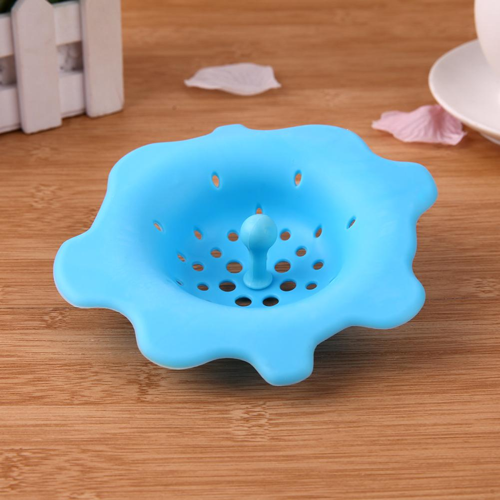 Round Flower Silicone Sink Strainers Drain Cover Stopper Hair Colanders Sink Filter Sewer Bathroom Accessories Kitchen Gadgets free shipping