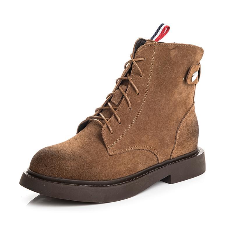 df7aa3362baa 20 New Knöchel Martin Stiefel für Frauen British Retro Leder Rau und Kurz  Schnürsenkel Lederstiefel Schwarz Khaki Frauen Schuhe