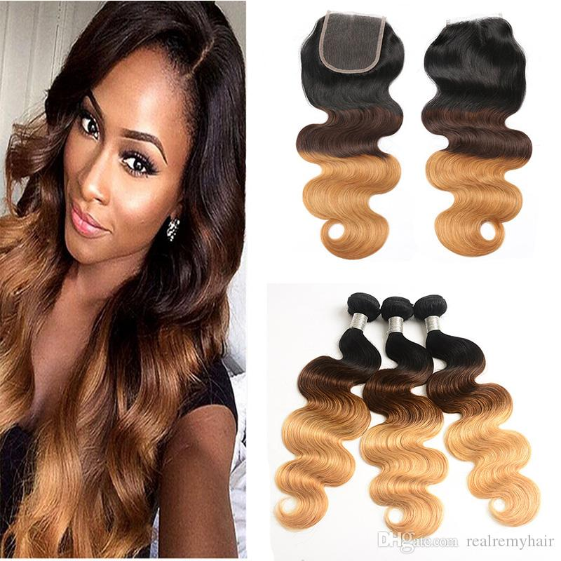 3 Tone 1B/4/27 Body Wave Ombre Bundles with Lace Closure Dark Roots Brown Honey Blonde Ombre Peruvian Hair Weaves with Closure