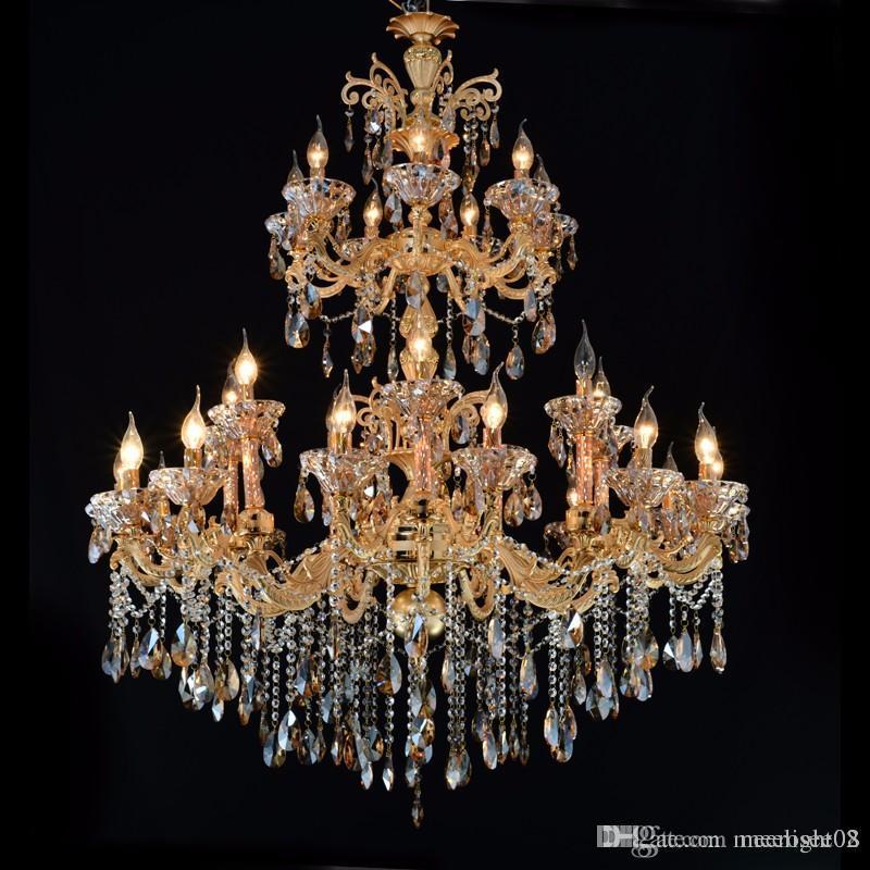 Large Gold Crystal Chandelier Lighting Big Cristal