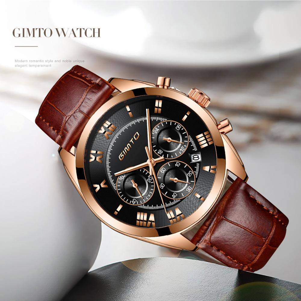 X GIMTO Top Brand Luxury Men Watch Leather Gold Black Clock Roman Sport Male Military Watches Waterproof Relogio Masculino Reloje