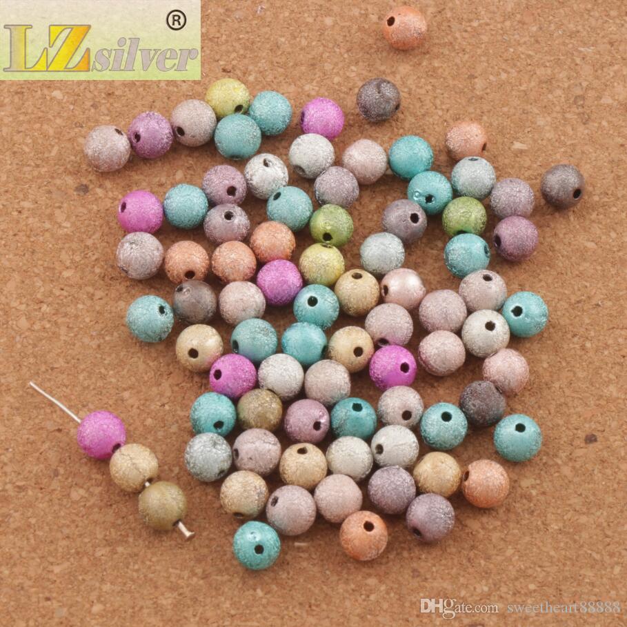 lot Mixte Coloré Stardust Perles rondes 8mm Hot Sell Sell Acrylique En stock Acrylique, Plastique, Lucite Lock Perles L3042