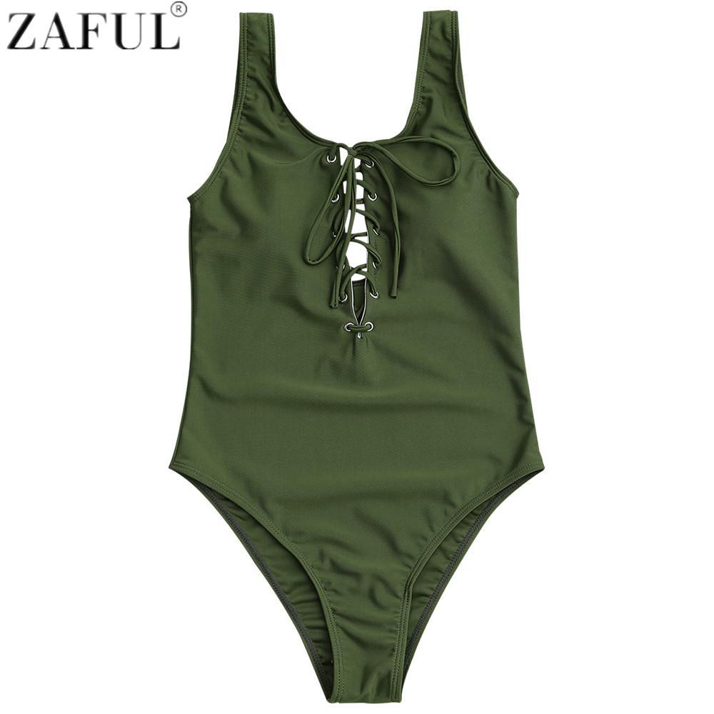 ffa8c9604d95a 2019 ZAFUL Lace Up Women Swimsuit Sexy One Piece Swimwear Monokini ...