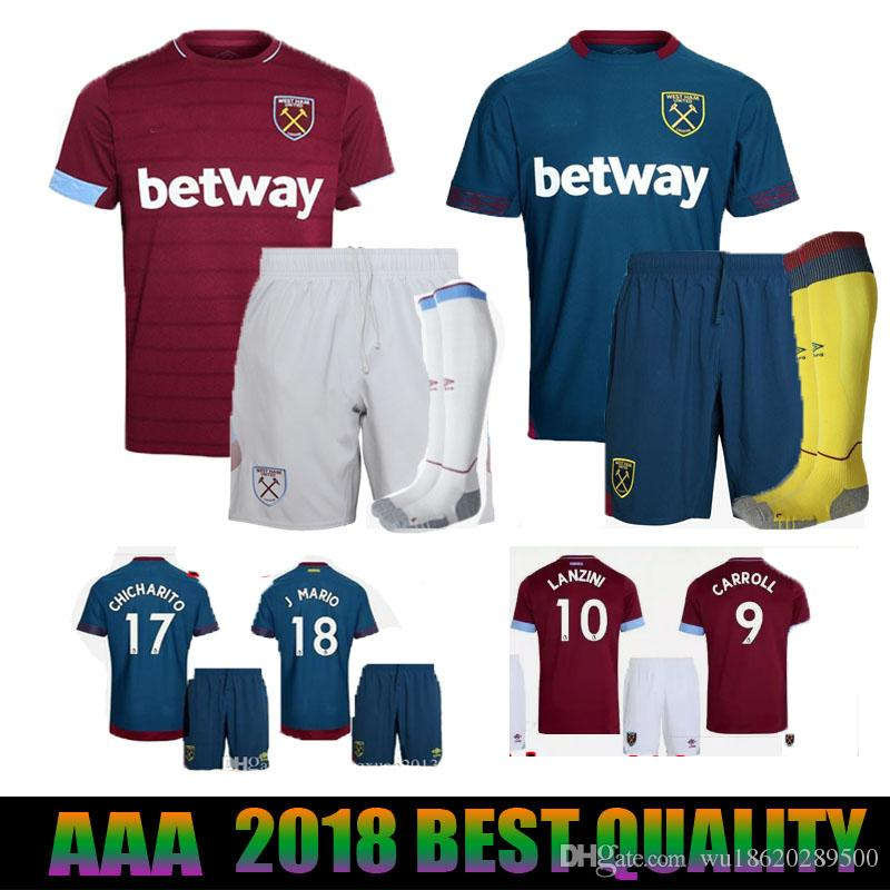 4d486e2c 2018 2019 West Ham United Kit Home Soccer Sets 18 19 CHICHARITO ...