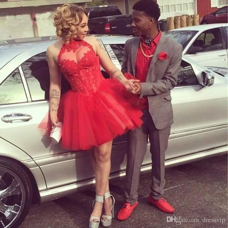 2018 High Neck Cocktail Dresses A Line Red Lace Appliques Summer Graduation Dresse Mini African Party Gown Custom Made Prom Dress