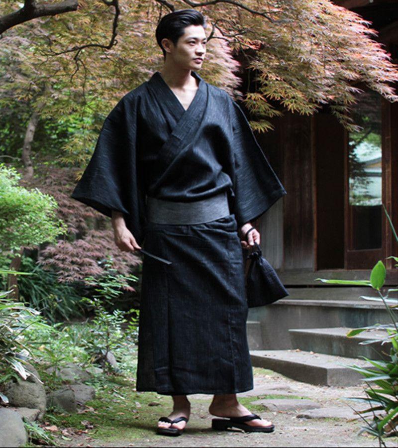 Hommes Ceinture Coton Kimono Yukata Avec Uniforme Vêtements Scène Japonais De Robe Cool Homme Traditionnel Bain sdrCtxQh