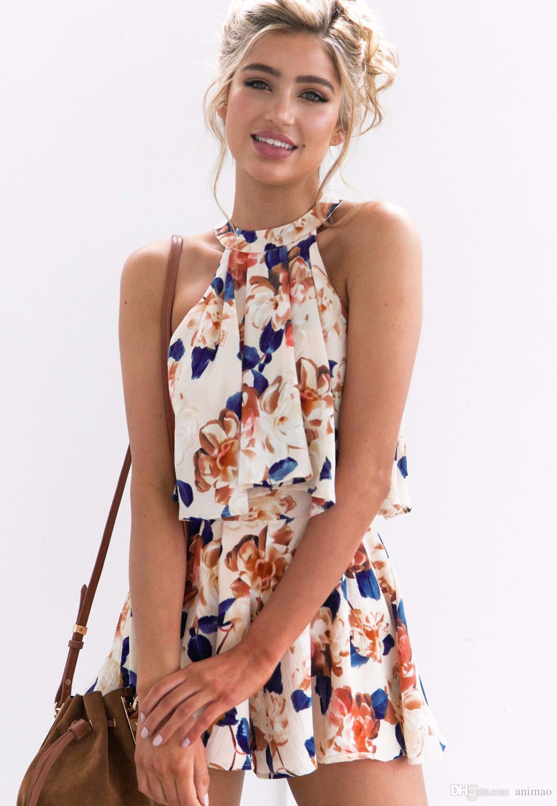 Summer Sexy Stylish Sleeveless Halter Suit Flower Print Set Ladies Lacing Divided Shorts & Vest Women Suit